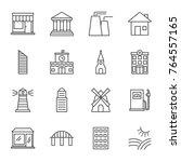 buildings vector icons set line ... | Shutterstock .eps vector #764557165