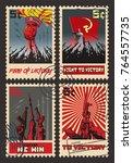 vintage postage stamps.... | Shutterstock .eps vector #764557735