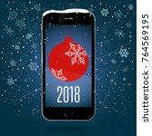black touchscreen smartphone...   Shutterstock .eps vector #764569195