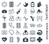 set of 36 hospital filled and... | Shutterstock .eps vector #764578069