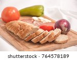 bread slices   vegetables and... | Shutterstock . vector #764578189