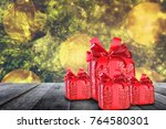 christmas background with red... | Shutterstock . vector #764580301