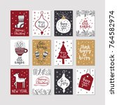 set of christmas posters.... | Shutterstock .eps vector #764582974
