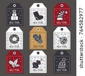 set of labels for christmas ... | Shutterstock .eps vector #764582977
