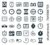 set of 36 time filled and... | Shutterstock .eps vector #764588755