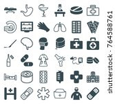 set of 36 hospital filled and... | Shutterstock .eps vector #764588761