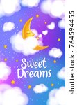 moon  clouds and stars. sweet... | Shutterstock .eps vector #764594455