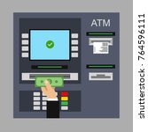 flat design of atm machine.... | Shutterstock .eps vector #764596111