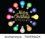 colorful round christmas lights ... | Shutterstock .eps vector #764596624