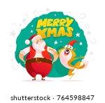 vector flat merry christmas... | Shutterstock .eps vector #764598847