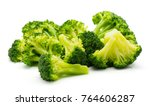 steamed broccoli isolated on... | Shutterstock . vector #764606287