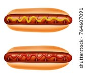 hot dog with mustard and... | Shutterstock .eps vector #764607091