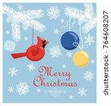 retro christmas pastel card... | Shutterstock .eps vector #764608207