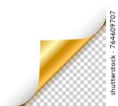 gold curled corner with... | Shutterstock .eps vector #764609707