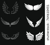 white wings set | Shutterstock .eps vector #764610451
