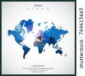 modern world map  | Shutterstock .eps vector #764615665