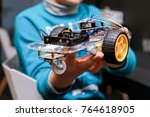 boy with his robotcs car made... | Shutterstock . vector #764618905