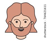 male face with mid length hair... | Shutterstock .eps vector #764621611
