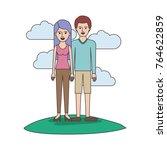 couple colorful scene outdoor... | Shutterstock .eps vector #764622859