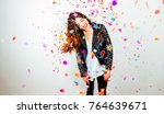 happy young and beatiful woman... | Shutterstock . vector #764639671