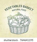 vector basket with fresh... | Shutterstock .eps vector #764641195