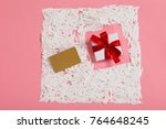 top view of blank gift card and ... | Shutterstock . vector #764648245