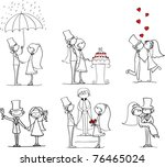 set of wedding pictures  bride... | Shutterstock .eps vector #76465024