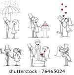 set of wedding pictures  bride... | Shutterstock .eps vector #76465024