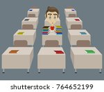 raster tired student single in... | Shutterstock . vector #764652199