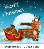 merry christmas greeting card.... | Shutterstock .eps vector #764656189