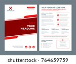 red brochure annual report... | Shutterstock .eps vector #764659759