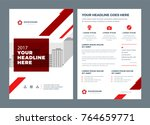red brochure annual report... | Shutterstock .eps vector #764659771