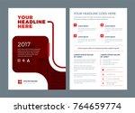 red brochure annual report... | Shutterstock .eps vector #764659774