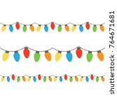christmas colorful lights on... | Shutterstock .eps vector #764671681
