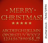 golden christmas alphabet... | Shutterstock .eps vector #764673994