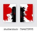 red black ink brush stroke on... | Shutterstock .eps vector #764675995