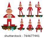 elf is sitting on a wooden... | Shutterstock .eps vector #764677441