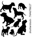 set puppies pit bull vector... | Shutterstock .eps vector #764678617