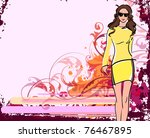 vector grunge female background | Shutterstock .eps vector #76467895