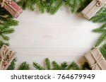 christmas presents with a... | Shutterstock . vector #764679949