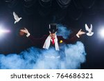 the magician with a two flying... | Shutterstock . vector #764686321