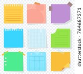 bright square colored sheets of ... | Shutterstock .eps vector #764687371
