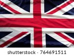 closeup of union jack flag  | Shutterstock . vector #764691511