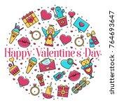 valentine's day round... | Shutterstock .eps vector #764693647