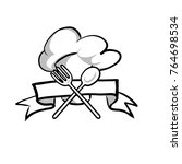 ribbon and banner hat chef fork ...   Shutterstock .eps vector #764698534