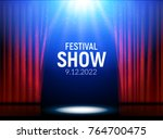 red curtains theater scene... | Shutterstock .eps vector #764700475