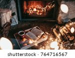 Warm Cozy Fireplace With Real...