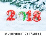 christmas background with... | Shutterstock . vector #764718565
