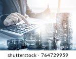 double exposure of businessman...   Shutterstock . vector #764729959