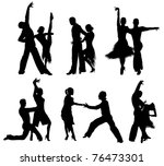 Set Of Silhouettes Of A Dancin...